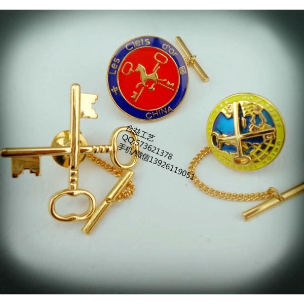 金钥匙徽章、金属徽标胸针、酒店商务