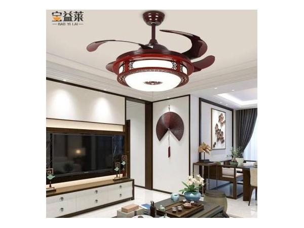 带遥控中式隐形风扇灯 客厅42寸变频吊扇灯具 家用实木复古餐厅吊灯 宝益莱